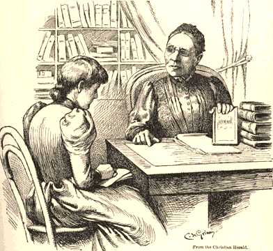 Drawing: Fanny in her study with student