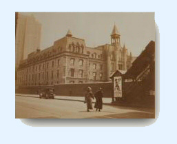 Early 20 century photo of the 9th Avenue school showing elevated train entrance