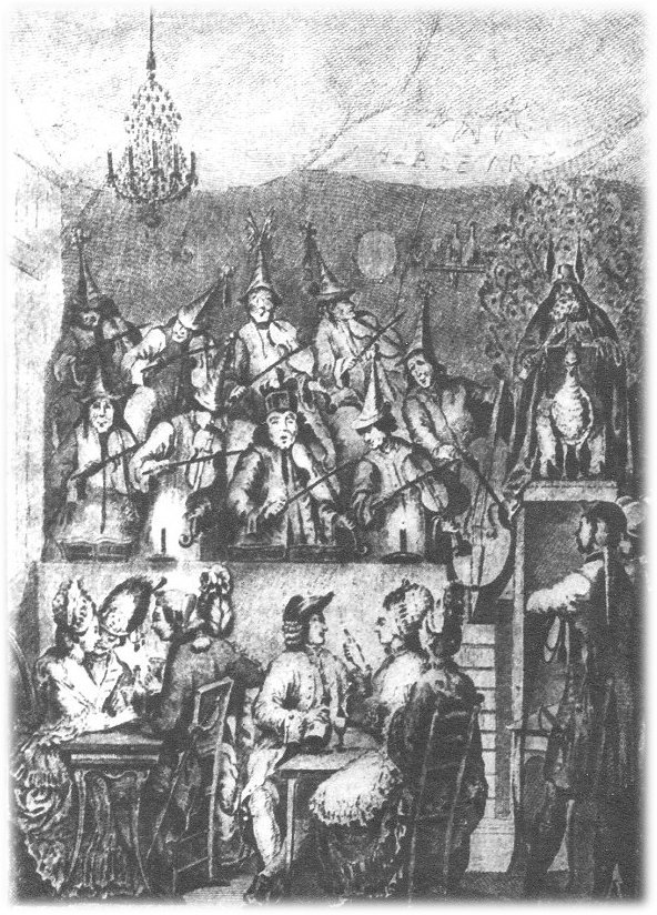 "This image called ""A Fair at St. Ovids"" shows several ladies and gentlemen at the fair while a group of musicians wearing pointed hats play violins."
