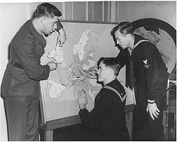 3 Navy Vets study Tactile map of Europe, Blinded Navy veterans were sent  to NYI for rehabilitation during WWII